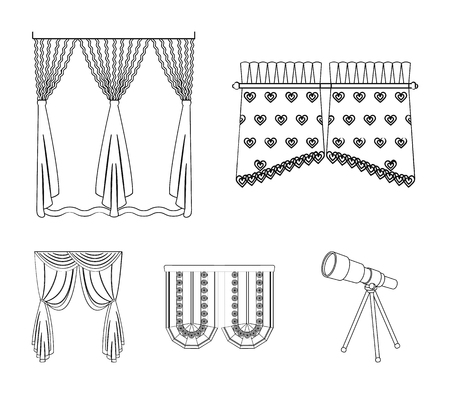 Curtains, stick, cornices, and other web icon in outline style.Bow, fabric, tulle icons in set collection. Vectores