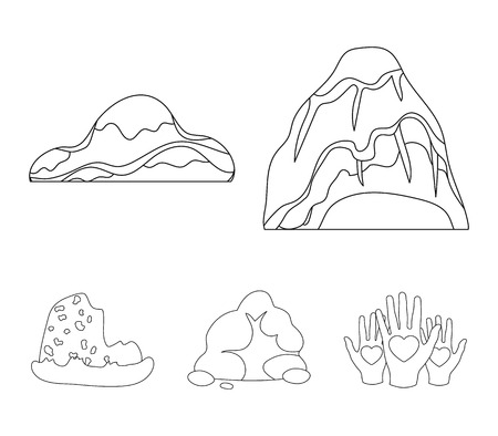 Boulders, a rounded mountain, rocks in the sea. Different mountains set collection icons in outline style vector symbol stock illustration web.