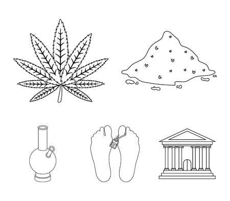 Hemp, cocaine, bong, corpse in the morgue. Drugs set collection icons in outline style vector symbol stock illustration web. Illustration