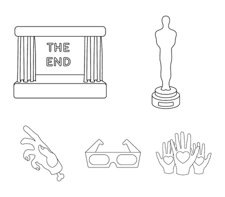 Award Oscar, movie screen, 3D glasses. Films and film set collection icons in outline style vector symbol stock illustration web. Illustration