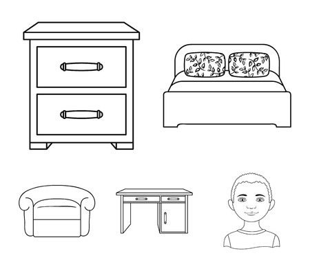 Interior, design, bed, bedroom .Furniture and home interiorset collection icons in outline style vector symbol stock illustration web.
