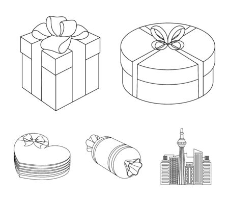 Gift box with bow, gift bag.Gifts and certificates set collection icons in outline style vector symbol stock illustration web.