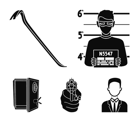 Crime set collection icons in black style vector symbol stock illustration web.
