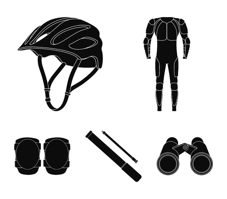Cyclist outfit set collection icons in black style vector symbol stock illustration web. Çizim