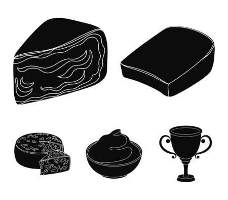 Different types of cheese set collection icons in black style vector symbol stock illustration web.