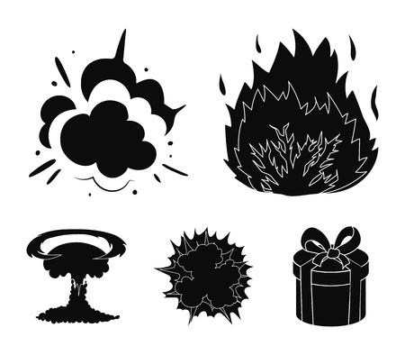 Explosions set collection icons in black style vector symbol stock illustration web. Ilustração