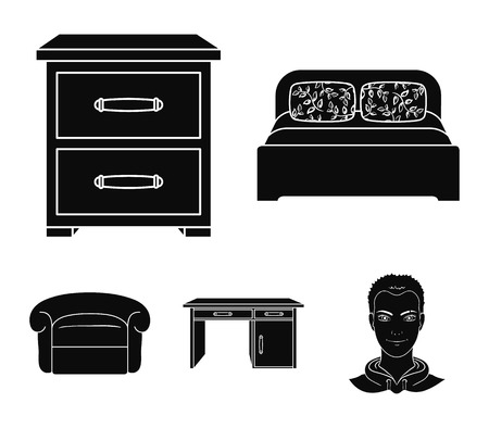 Interior, design, bed, bedroom .Furniture and home interior set collection icons in black style vector symbol stock illustration