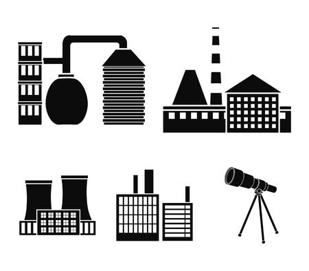 Factory set collection icons in black style vector symbol stock illustration .