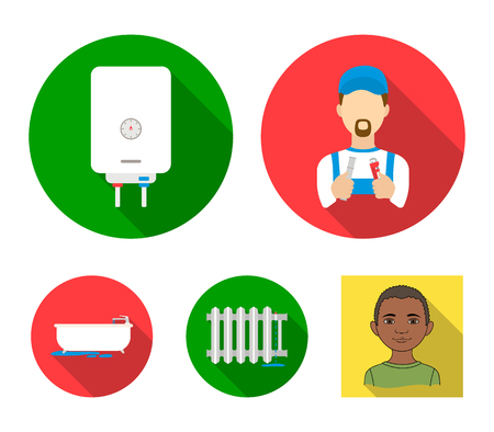 Plumbing set collection icons in flat style vector symbol stock illustration web.