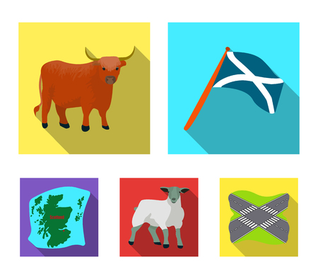Scotland set collection icons in flat style vector symbol stock illustration web. Çizim