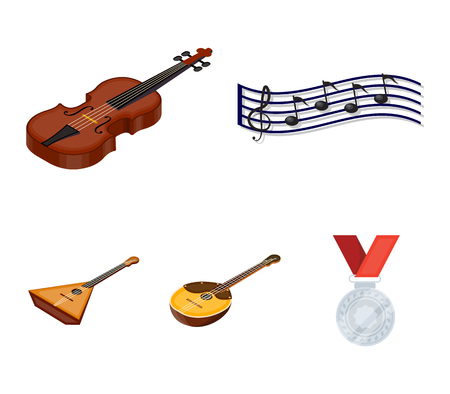 Musical instrument cartoon icons in set collection for design. String and Wind instrument isometric vector symbol stock web illustration. 矢量图像