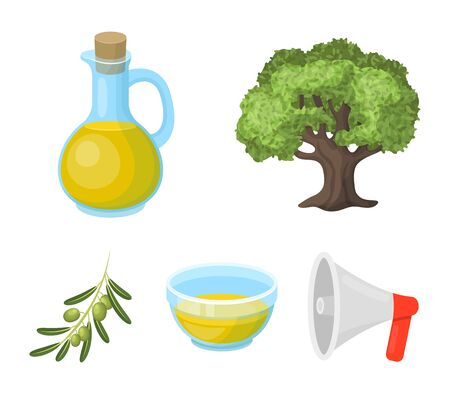 An olive tree, a branch with olives, a vessel and a jug of oil. Olives set collection icons in cartoon style vector symbol stock illustration web. Illustration