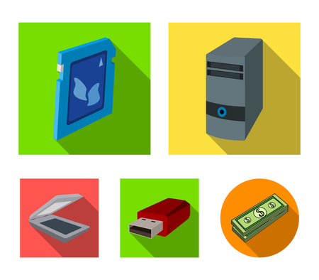 A system unit, a flash drive, a scanner and a SD card. Personal computer set collection icons in flat style vector symbol stock illustration web. Иллюстрация
