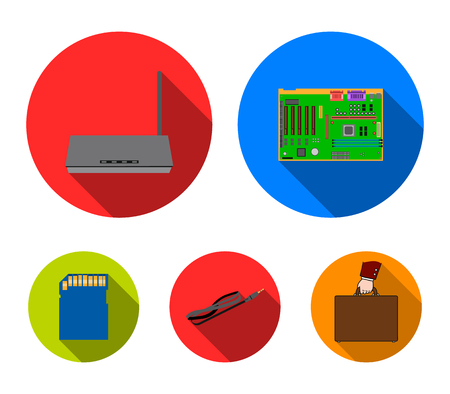 Motherboard, router and other accessories. Personal computer set collection icons in flat style vector symbol stock illustration web. Иллюстрация