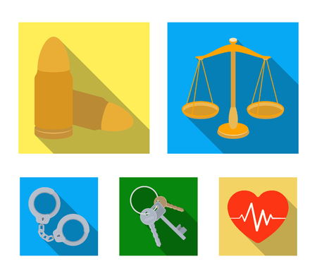 Scales of justice, cartridges, a bunch of keys, handcuffs.Prison set collection icons in flat style vector symbol stock illustration web.