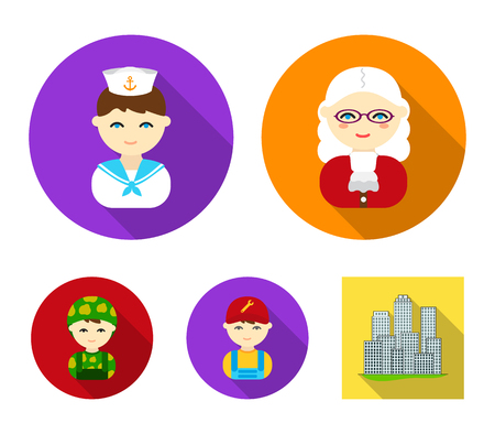 Judge, sailor, soldier, mechanic.Profession set collection icons in flat style vector symbol stock illustration web. Çizim