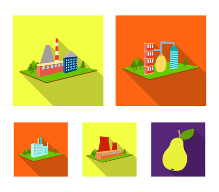 Processing factory,metallurgical plant. Factory and industry set collection icons in flat style isometric vector symbol stock illustration web.