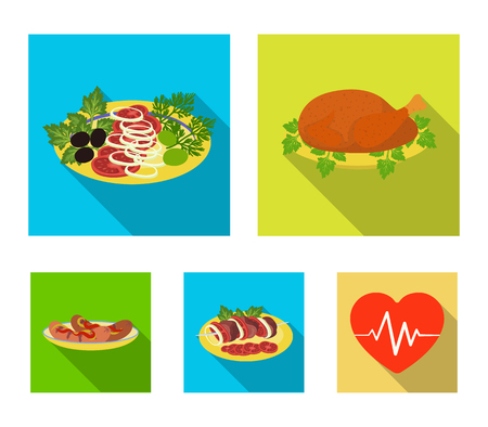 Fried chicken, vegetable salad, shish kebab with vegetables, fried sausages on a plate. Food and Cooking set collection icons in flat style vector symbol stock illustration web.