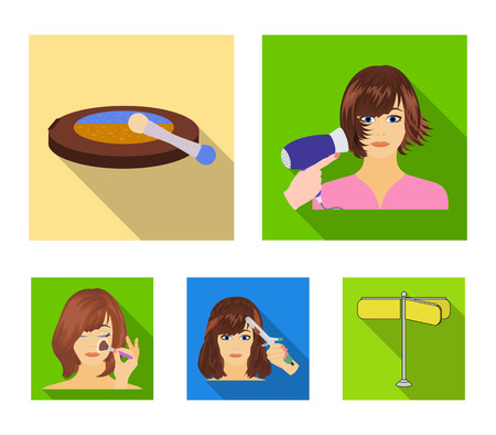 Salon, care, hygiene and other web icon in flat style. Hands, hairdresser, beauty, icons in set collection. Ilustração