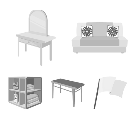 Soft sofa, toilet make-up table, dining table, shelving for laundry and detergent. Furniture and interior set collection icons in monochrome style isometric vector symbol stock illustration web.