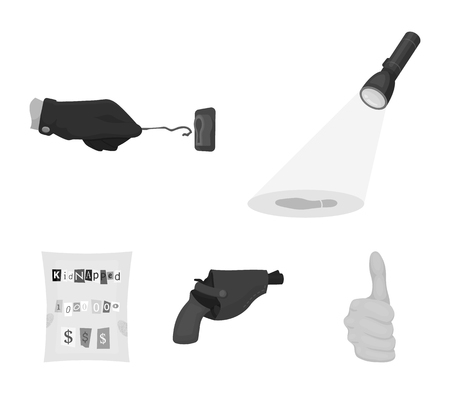 The detectives flashlight illuminates the footprint, the criminals hand with the master key, a pistol in the holster, the kidnappers claim. Crime and detective set collection icons in monochrome style vector symbol stock illustration web.