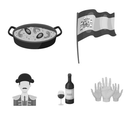 Flag with the coat of arms of Spain, a national dish with rice and tomatoes, a bottle of wine with a glass, a bullfighter, a matador. Spain country set collection icons in monochrome style vector symbol stock illustration web.