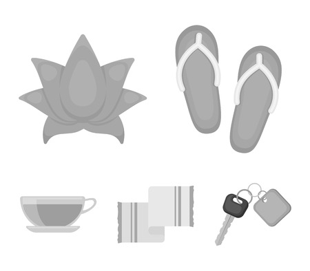 Flip-flops for the pool, lotus flower with petals, yellow towel with fringe, cup with tea, drink. Spa set collection icons in monochrome style vector symbol stock illustration web. Illustration