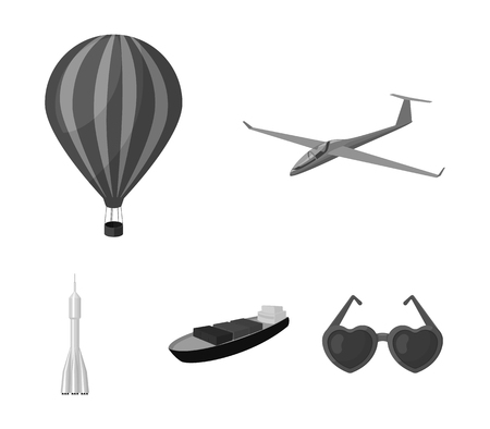 A drone, a glider, a balloon, a transportation barge, a space rocket transport modes. Transport set collection icons in monochrome style vector symbol stock illustration web.