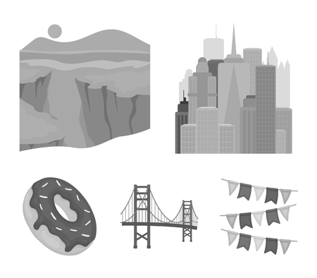 A megacity, a grand canyon, a golden gate bridge,donut with chocolate. The US country set collection icons in monochrome style vector symbol stock illustration web. Illustration