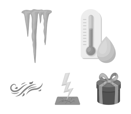 Humidity, icicles, thunderbolt, windy weather. Weather set collection icons in monochrome style vector symbol stock illustration web.