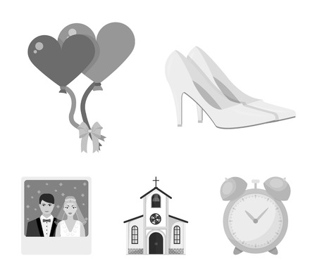 Elegant wedding shoes with heels, balloons for the ceremony, a church with a stained-glass window and a bell, a picture of the bride and groom. Wedding set collection icons in monochrome style vector symbol stock illustration web.