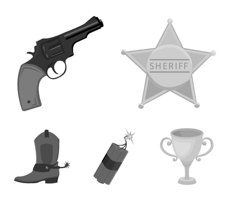 Star sheriff, Colt, dynamite, cowboy boot. Wild West set collection icons in monochrome style vector symbol stock illustration web.