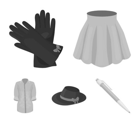 Skirt with folds, leather gloves, womens hat with a bow, shirt on the fastener. Womens clothing set collection icons in monochrome style vector symbol stock illustration web.