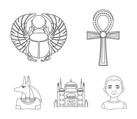 Anubis, Ankh, Cairo citadel, Egyptian beetle.Ancient Egypt set collection icons in outline style vector symbol stock illustration web.