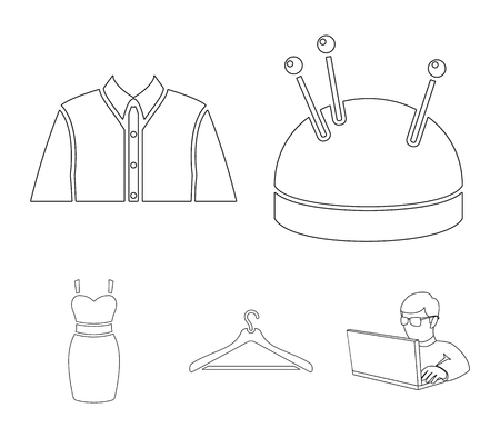 A mans shirt, a mannequin, a roll of fabric, a ball of threads and knitting needles.Atelier set collection icons in outline style vector symbol stock illustration web.