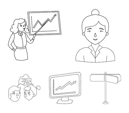 Businesswoman, growth charts, brainstorming.Business-conference and negotiations set collection icons in outline style vector symbol stock illustration web. Иллюстрация