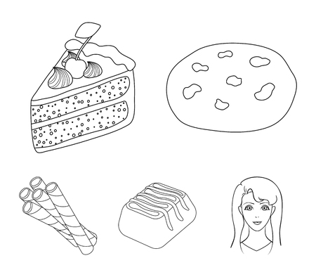 American cookies, a piece of cake, candy, wafer tubule. Chocolate desserts set collection icons in outline style vector symbol stock illustration web. Illustration