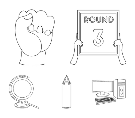 Boxing, sport, round, hand. Boxing set collection icons in outline style vector symbol stock illustration web. Illustration