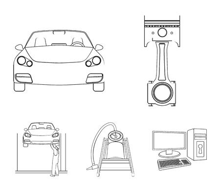 Coche en los iconos de contorno de elevación, pistón y bomba en la colección de conjunto para el diseño. Estación de mantenimiento de automóviles vector símbolo stock ilustración web.