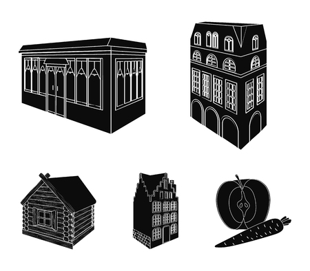 Residential house in English style, a cottage with stained-glass windows, a cafe building, a wooden hut. Architectural building set collection icons in black style vector symbol stock illustration web.