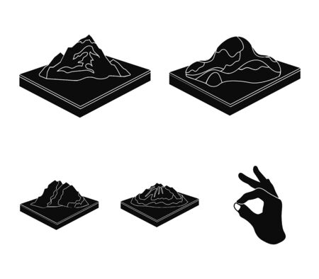 Mountains, rocks and landscape. Relief and mountains set collection icons in black style.