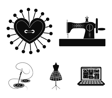 Needle and thread, sewing machine, pincushion, dummy for clothing. Sewing and equipment set collection icons in black style vector symbol stock illustration web.
