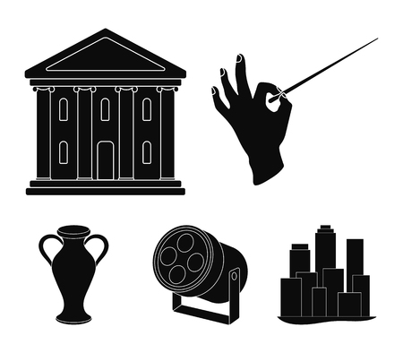 Conductors baton, theater building, searchlight, amphora.Theatre set collection icons in black style vector symbol stock illustration .