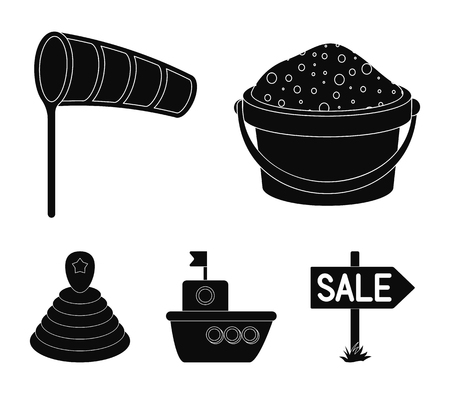 Children's toy black icons in set collection for design. Game and bauble vector symbol stock  illustration.