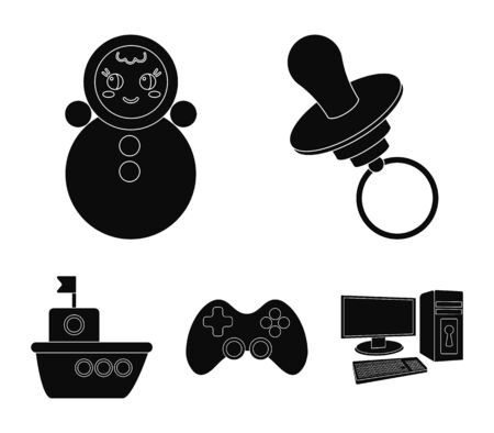 Nipple, doll tumbler, joystick, ship.Toys set collection icons in black style vector symbol stock illustration . Иллюстрация