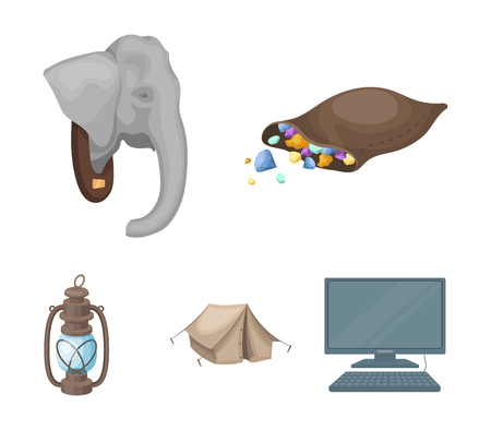 A bag of diamonds, an elephants head, a kerosene lamp, a tent. African safari set collection icons in cartoon style vector symbol stock illustration . Illustration