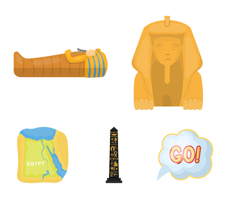 The territory of Egypt, the Sphinx, the pharaoh's sarcophagus, the Egyptian pillar with the inscription.Ancient Egypt set collection icons in cartoon style vector symbol stock illustration . Vettoriali