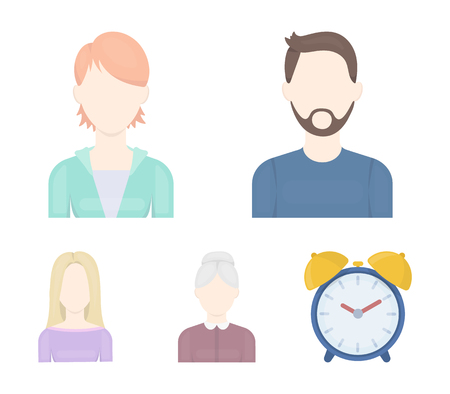 A man with a beard and mustache, a red-haired girl, an old woman, a blonde.Avatar set collection icons in cartoon style vector symbol stock illustration web. Illustration