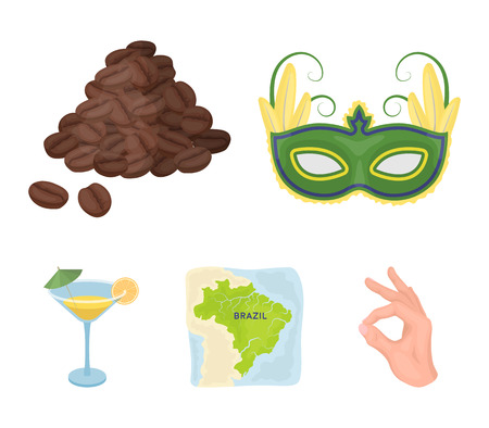 Brazil country set collection icons in cartoon style vector symbol stock illustration web. 向量圖像