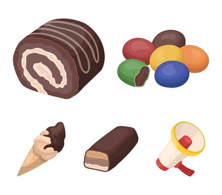 Dragee, roll, chocolate bar, ice cream. Chocolate desserts set collection icons in cartoon style vector symbol stock illustration web.